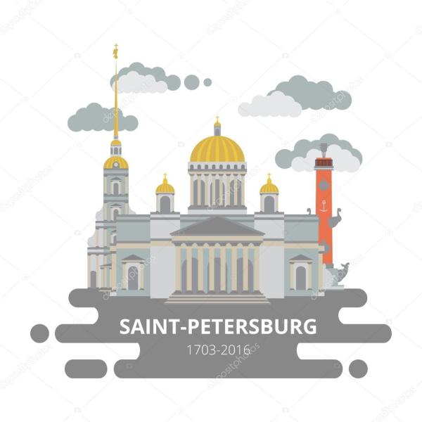 Плоский город Санкт-Петербург. Векторный набор — Векторное ...