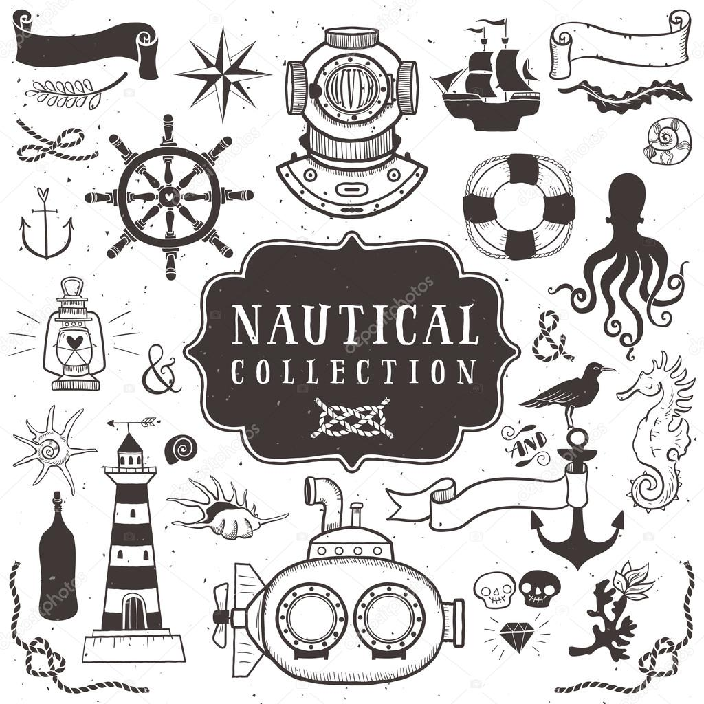 Vintage Hand Drawn Elements In Nautical Style