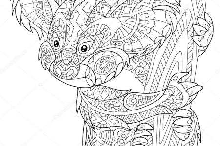 Drawing Zentangle Koala Coloring Page Shirt Stock Vector Royalty For Design Effect Logo Tattoo And Decoration