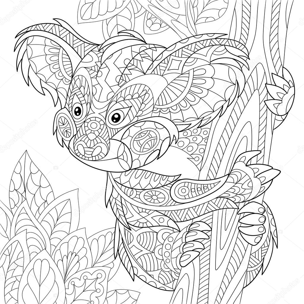 Zentangle Stylized Koala Bear Stock Vector © Sybirko 108380594