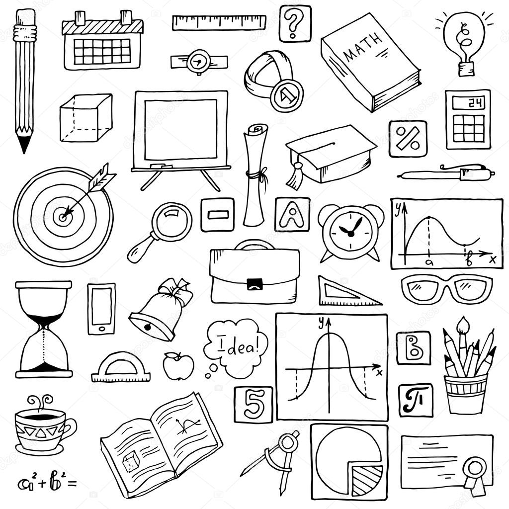 Illustration Of Icons On A Mathematics Theme Hand Drawn