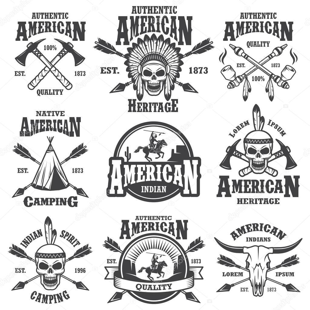 Insieme Degli Emblemi Di Indiani D America