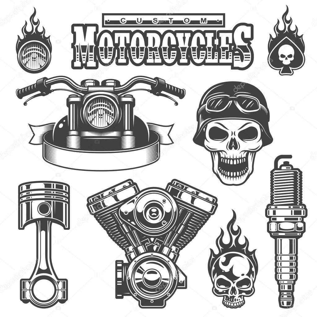 Conjunto De Elementos Vintage Moto Monocromo