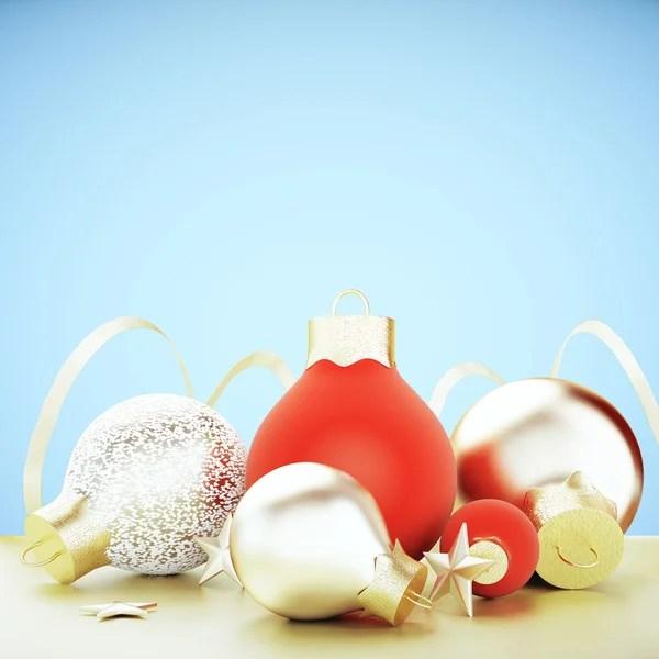 Новогодняя елка красные и золотые шары. Рождественская ...