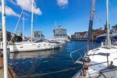 Pier with boats and ships in Stavanger, Norway. Typical Scandina — Stockfoto #78159180
