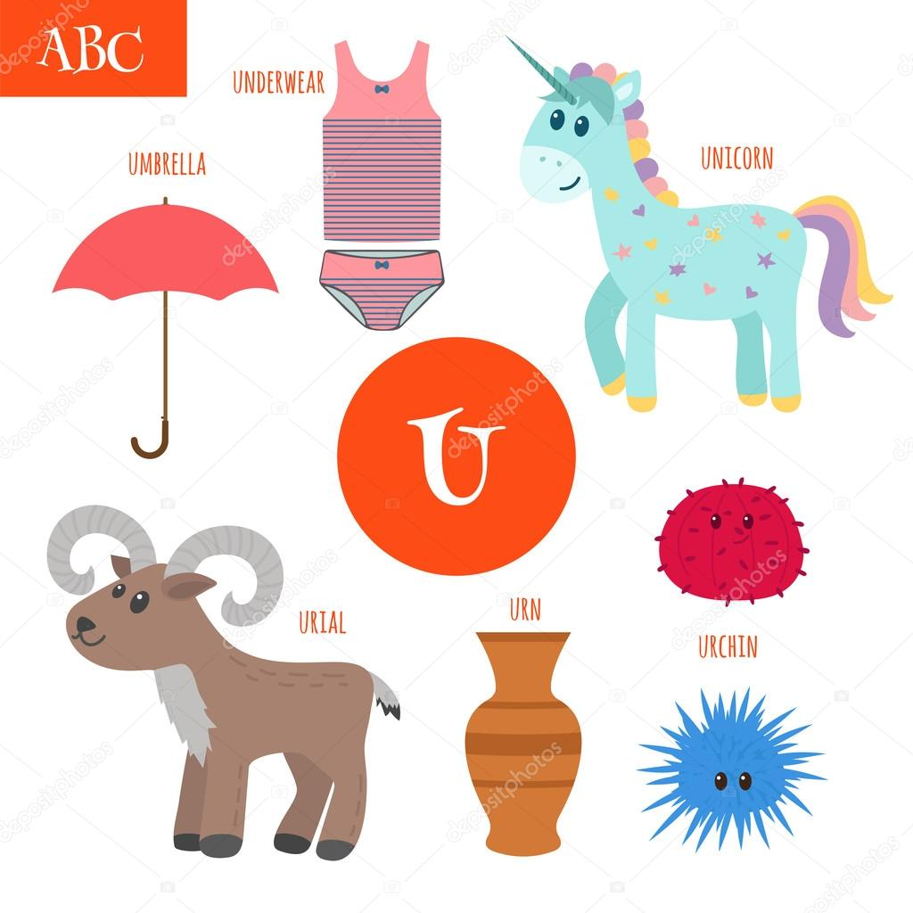 Letter U Cartoon Alphabet For Children Unicorn Umbrella