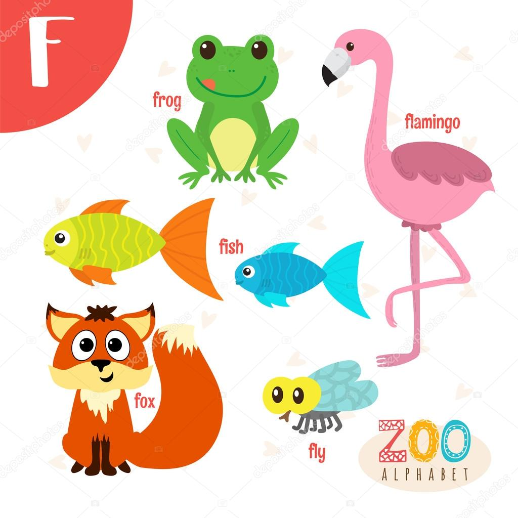 Letter F Cute Animals Funny Cartoon Animals In Vector