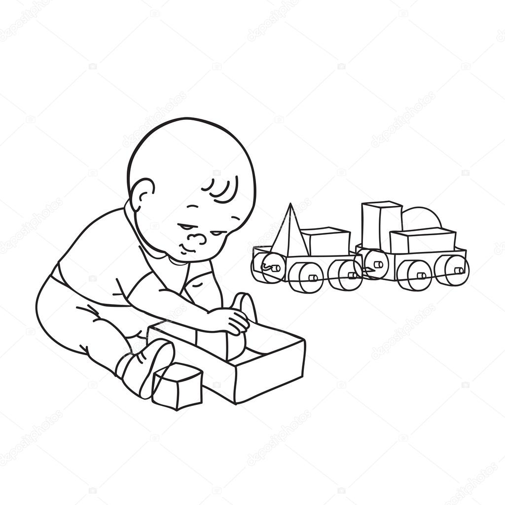 Little Lovely Baby Boy Playing With Toys Kid Plays With