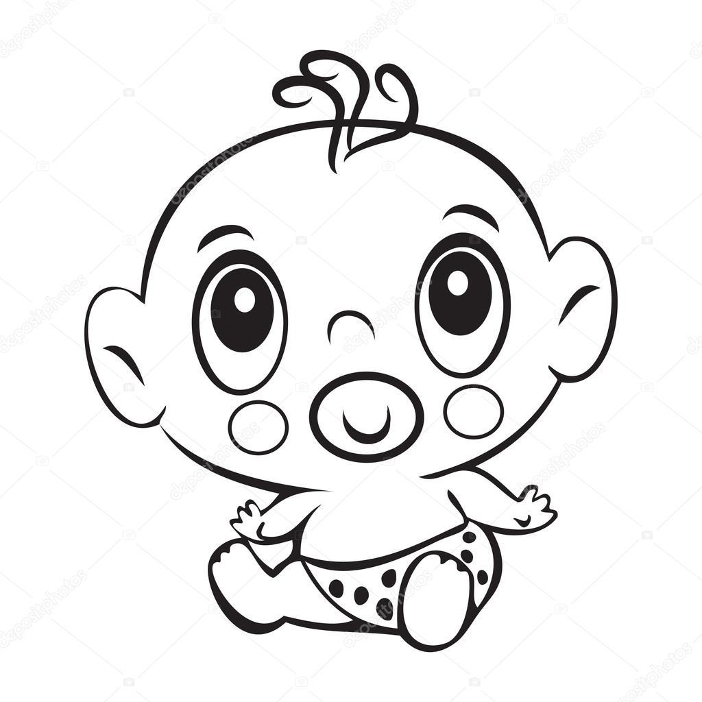 Neonato Divertente Neonato Sveglio Che Si Siede In Un Pannolino Isolato