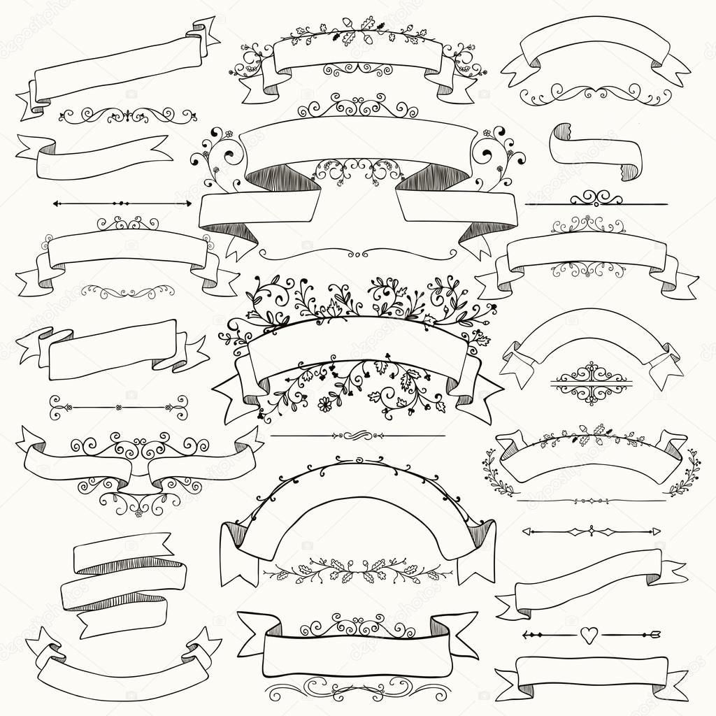 Hand Drawn Floral Design Elements Ribbons Banners