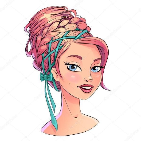 Art beautiful hair style girl portrait bright pastel