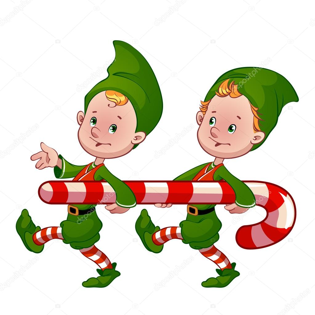Two Christmas Elf With Candy