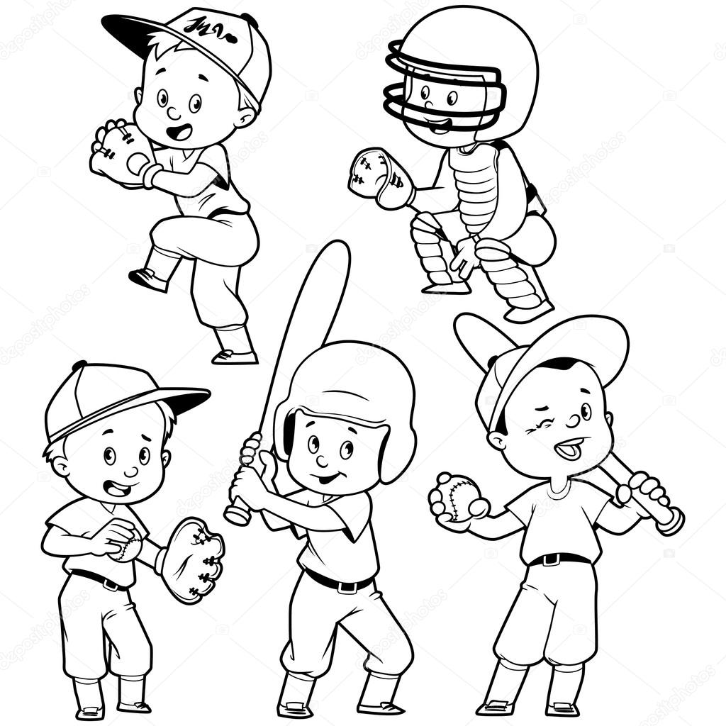Cartoon Kids Playing Baseball Vector Clip Art
