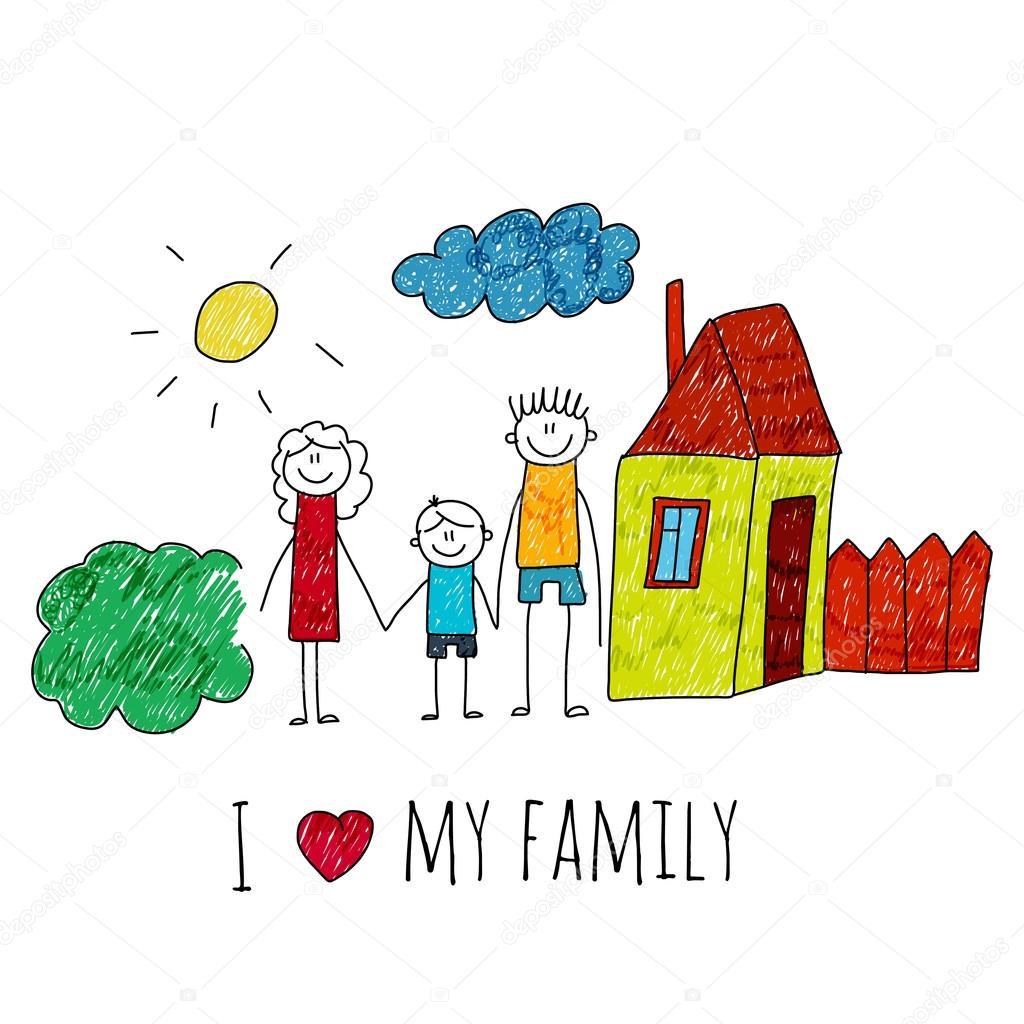 Immagine Di Vettore Io Amo La Mia Famiglia