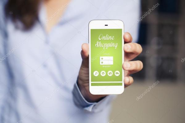 Мобильное приложение для покупок. Ручной телефон ...