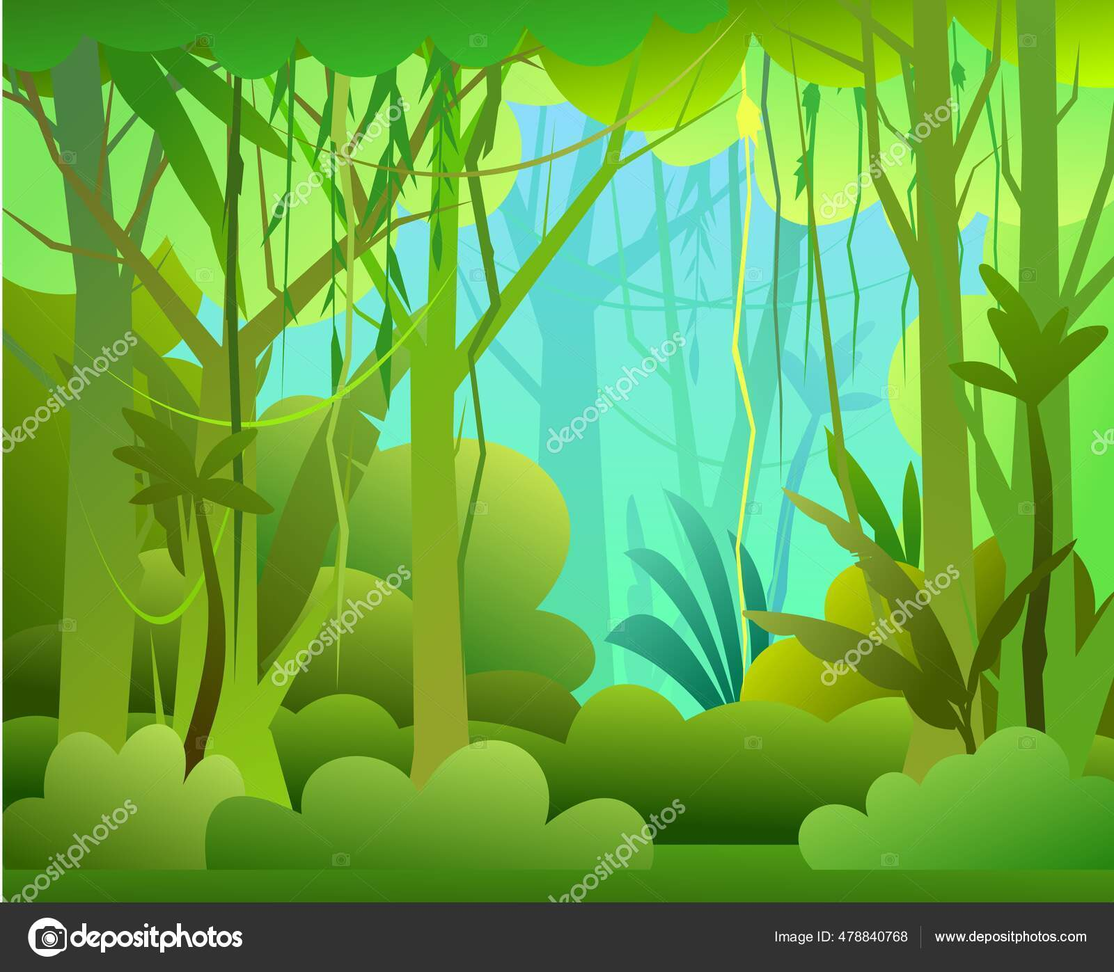 Forest cartoon animals educational game vector. Jungle Illustration Dense Wild Growing Tropical Plants Tall Branched Trunks Stock Vector Image By C Webpainter Std 478840768