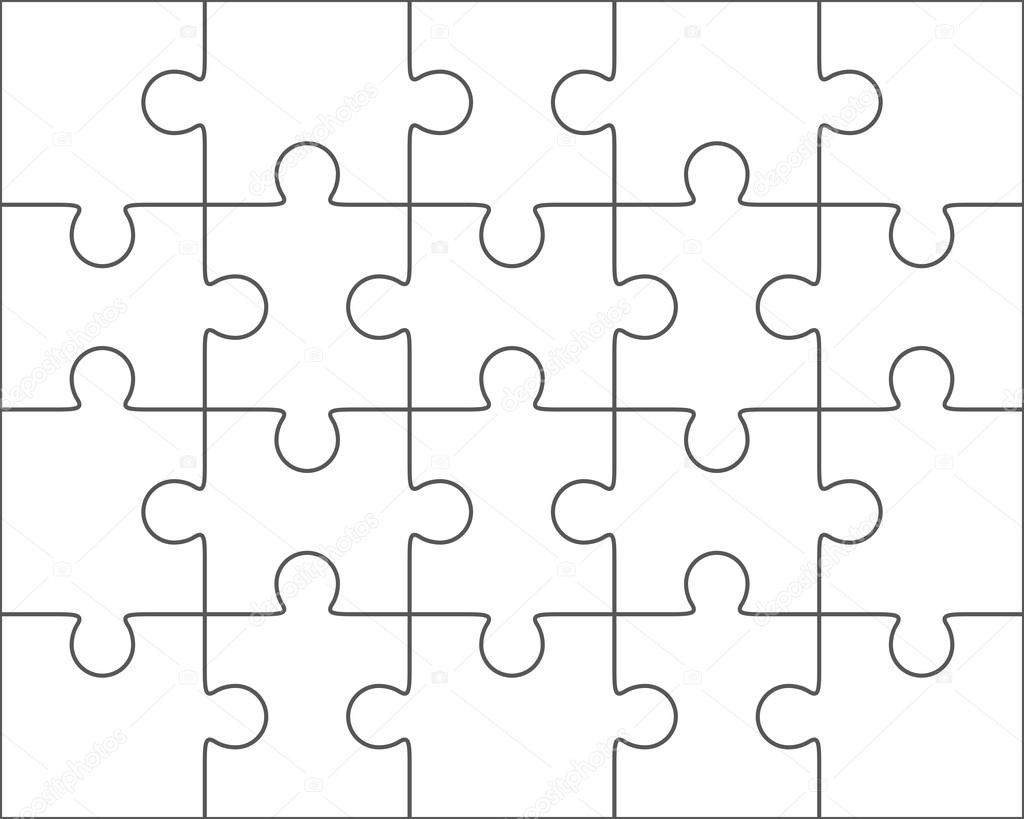 Jigsaw Puzzle Leere Vorlage 4 X 5 20 Stuck