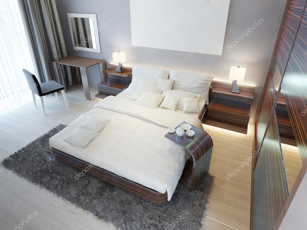Comfortable Bedroom In Contemporary Style With Brown