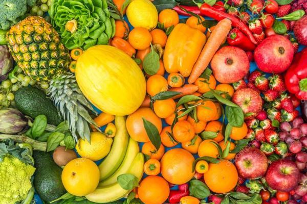 Цветной фон фрукты и овощи — Стоковое фото © oneinchpunch ...