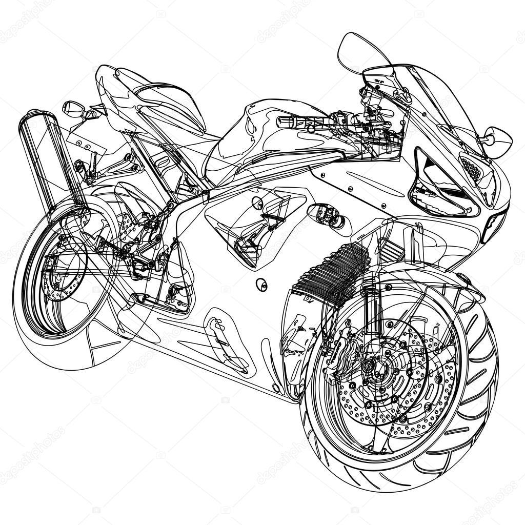 Motorrad Skizze
