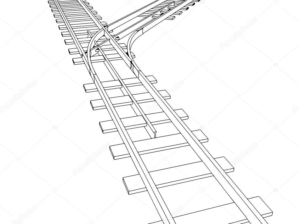 Vector 3d Railway Railroad Track Silhouette