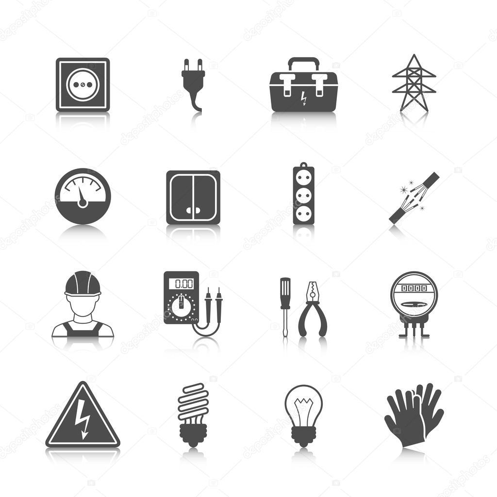 Icono De Electricidad Negro