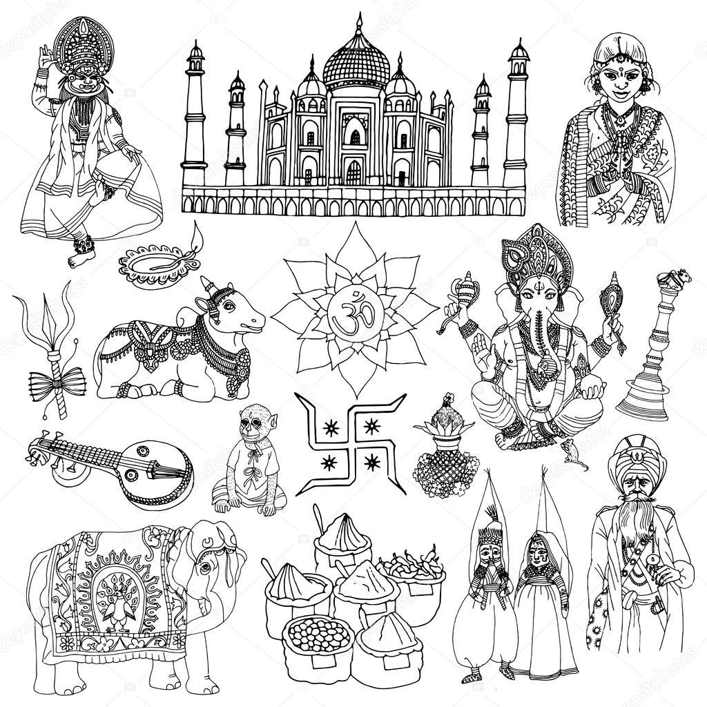 Conjunto De Dibujo De La India