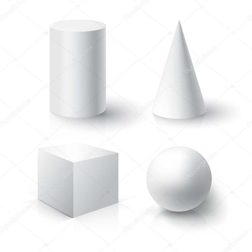 Realistic Ball Cube Cylinder And Cone