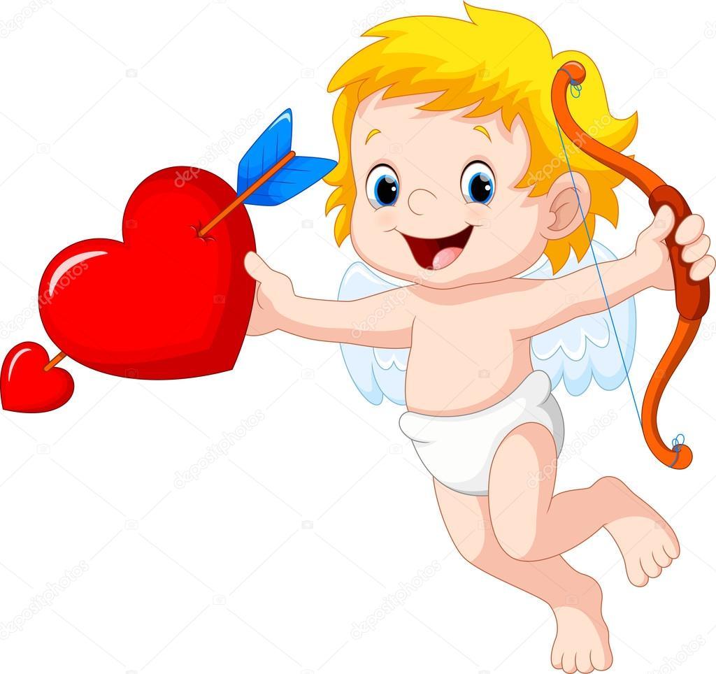 Cupido Bonito Dos Desenhos Animados Segurando Corao