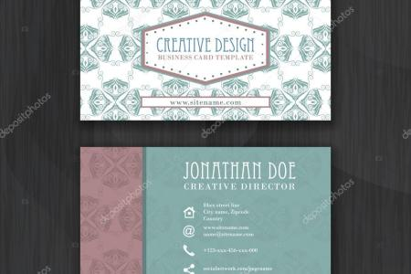 Vintage floral business card template for personal or professional     Vintage floral business card template for personal or professional use with  front and back side