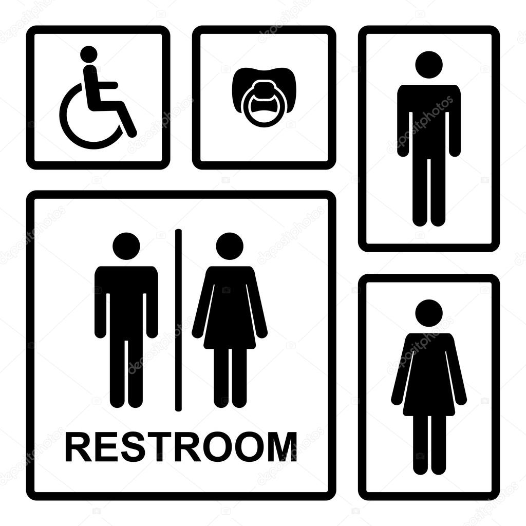 Vector Restroom Icons With Men Women Lady Man Baby