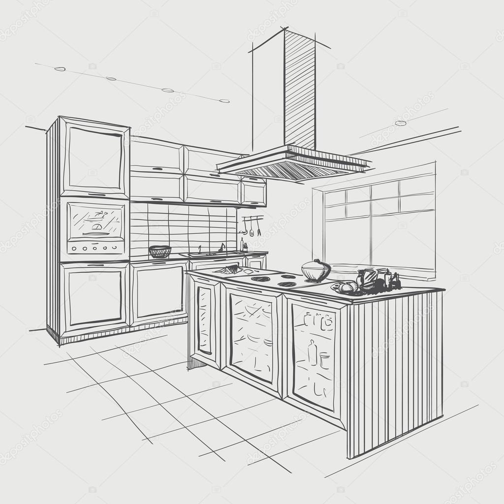 Interior Sketch Of Modern Kitchen With Island