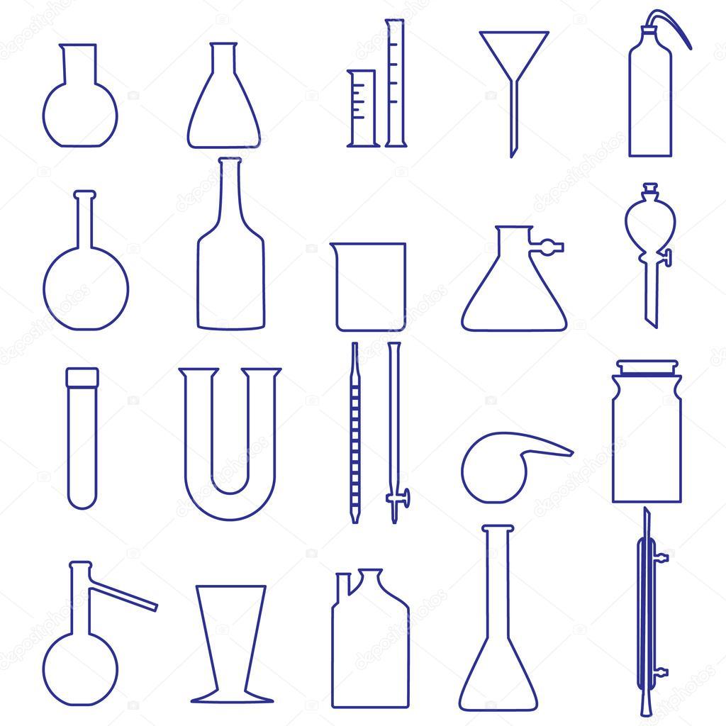 Quimica Laboratorio Vidraria Contorno Simples Icones Eps10