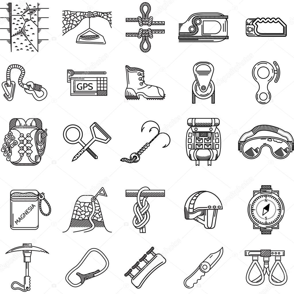 Black Icons Vector Collection For Rock Climbing