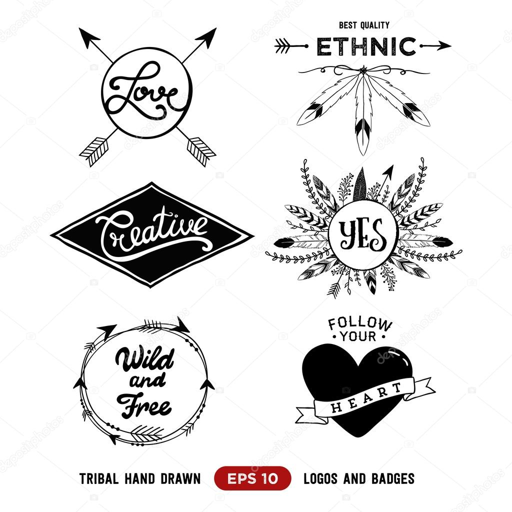 Hand Drawn Tribal Design Vector Elements Aztec Logos And