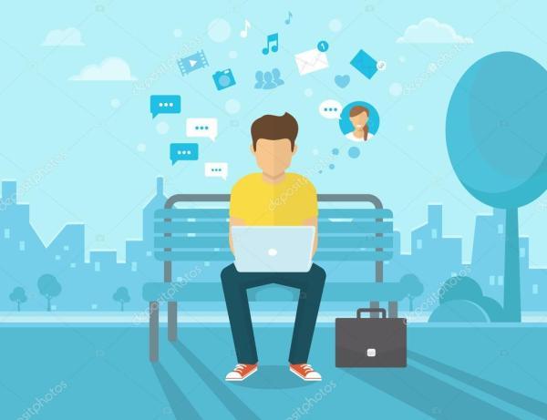 Человек с ноутбуком — Вектор: изображение, рисунок © Julia ...