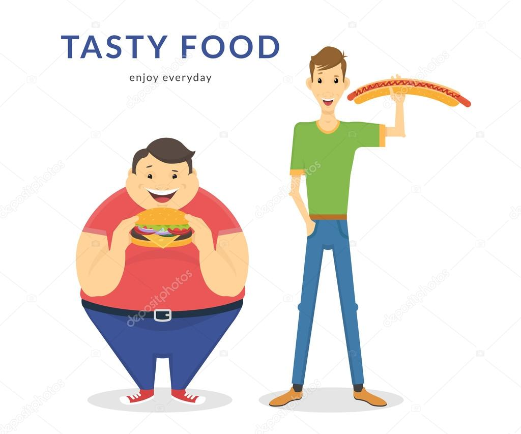 Happy Fat And Thin Men Eating A Big Food