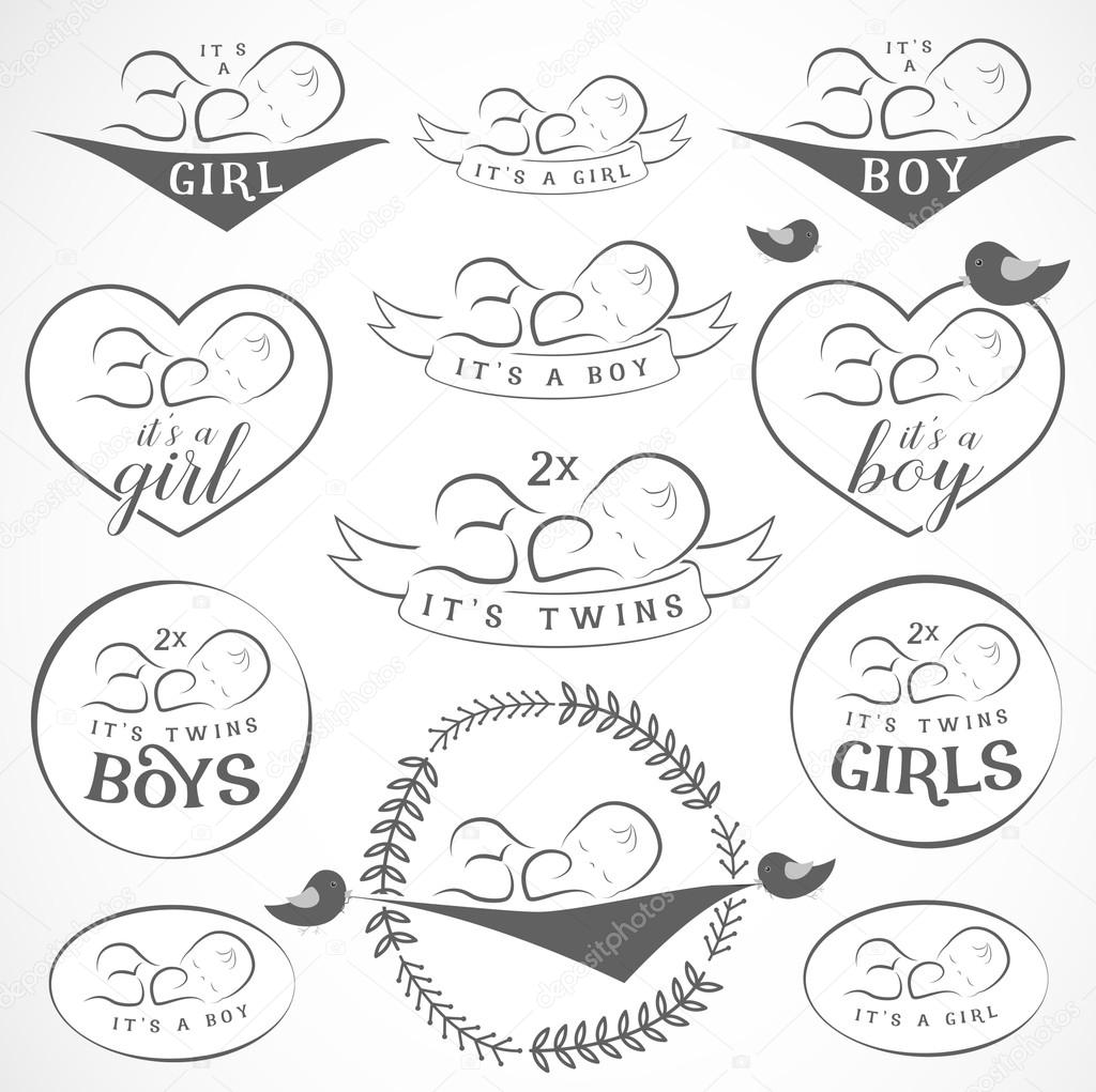 Vintage Baby Girl And Boy Badge Set Design Elements For
