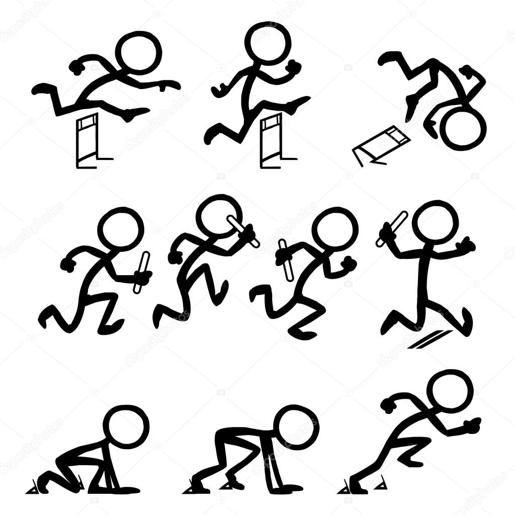 Set Of Stick Figures Running At Olympics