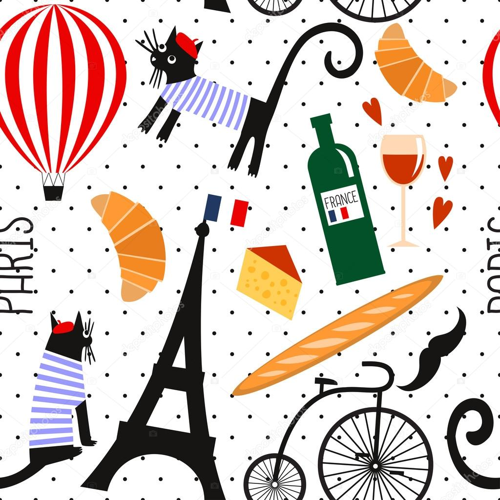 French Culture Symbols Seamless Pattern On Polka Dots