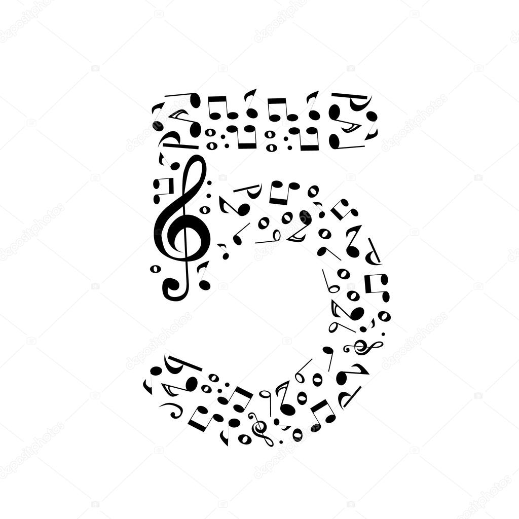 Abstract Vector Number Five Made From Music Notes