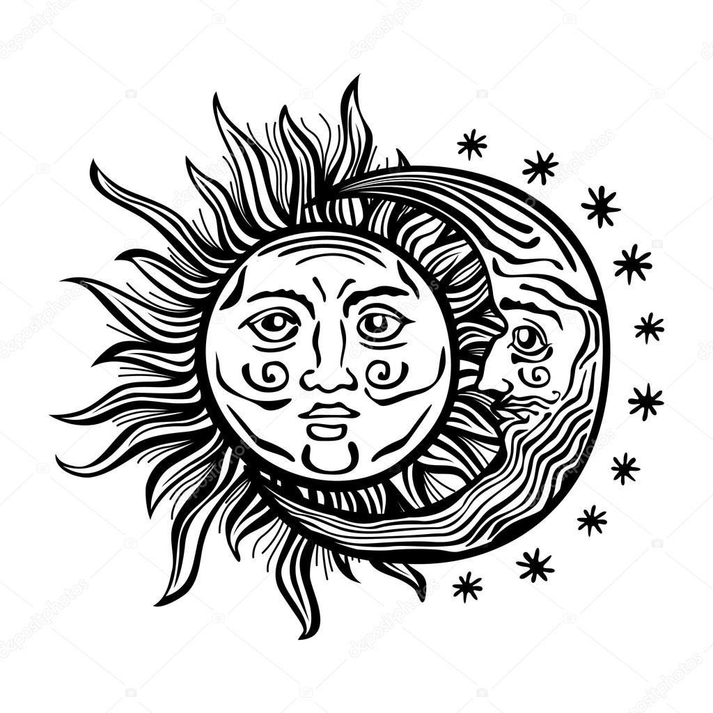 Illustration Sun Moon Star Human Faces Retro Vintage