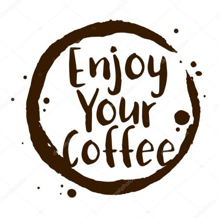 Enjoy Your Coffee Word With Coffee Stain Symbol — stock illustration