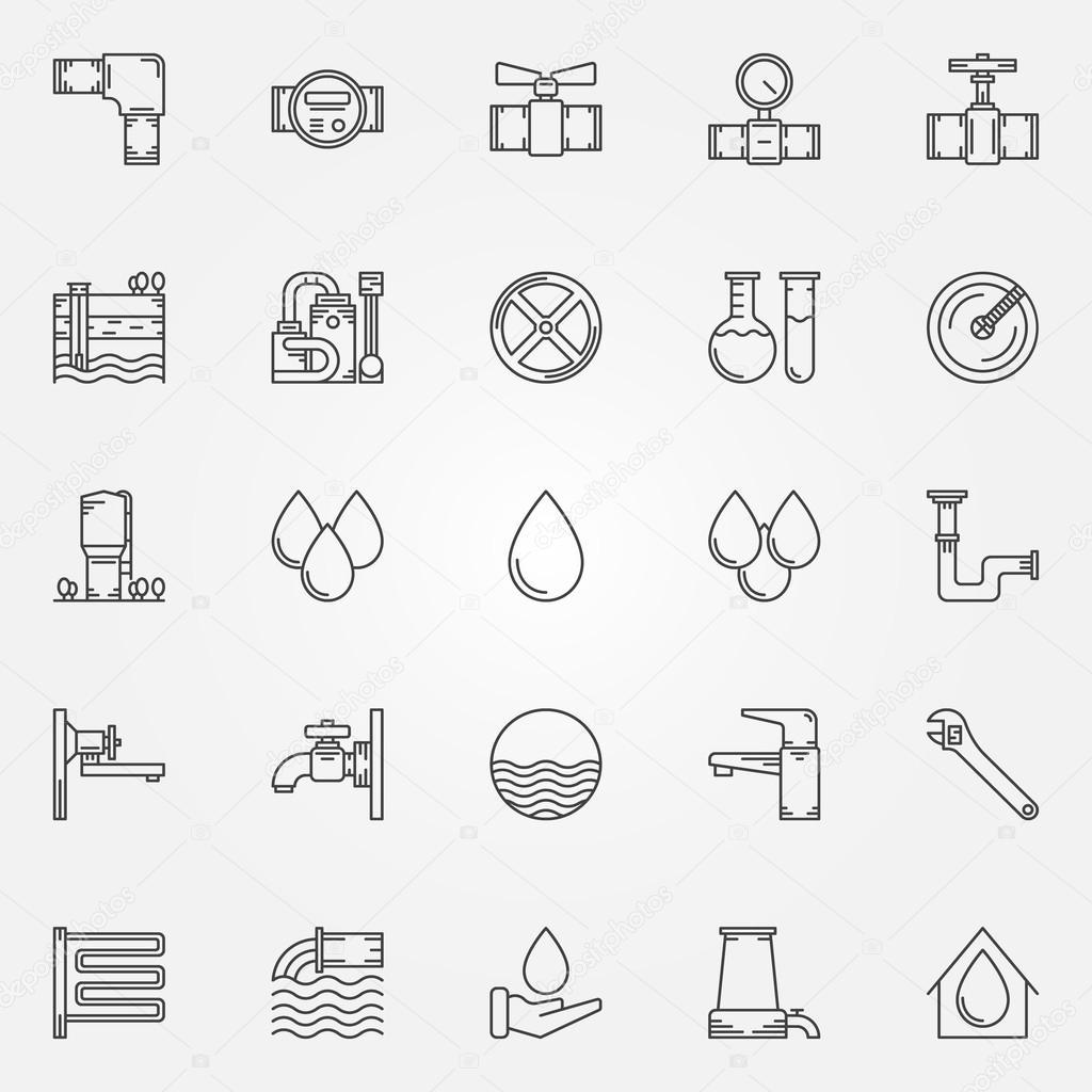 Wasserversorgung Icons