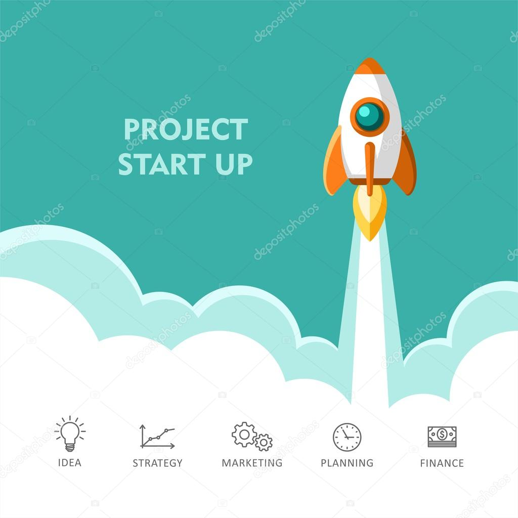 Rocket Ship Start Up Concept Of New Business Project