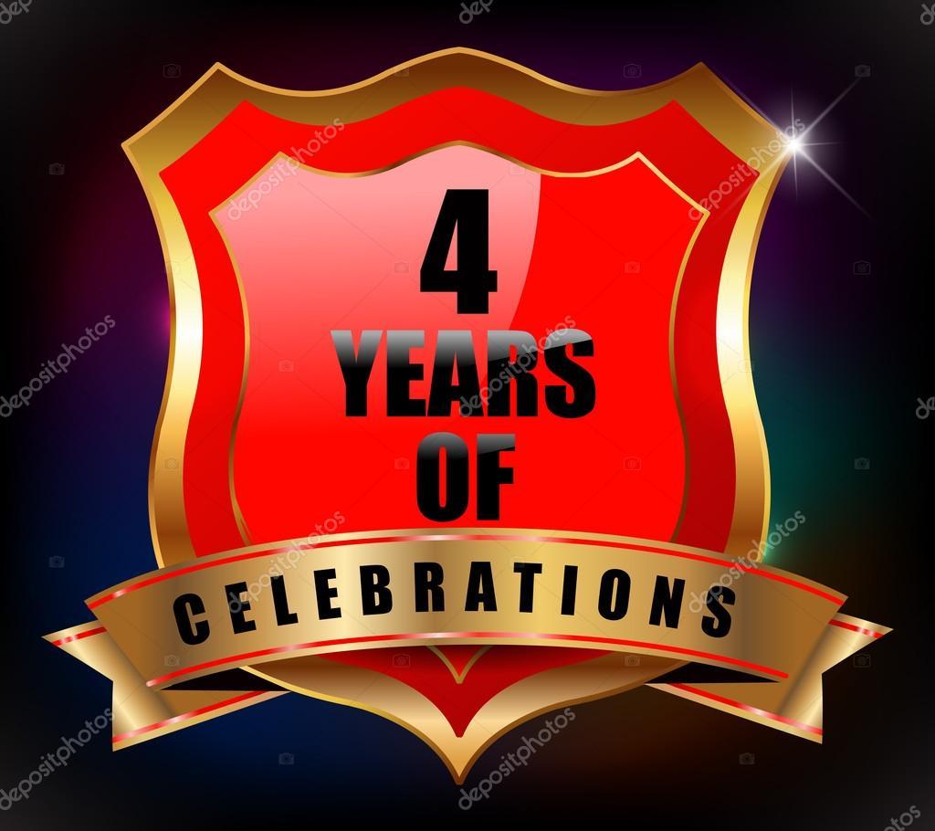 4 Years Anniversary Golden Celebration Label Badge Vector Eps10 Stock Vector C Atulvermabhai 52944869