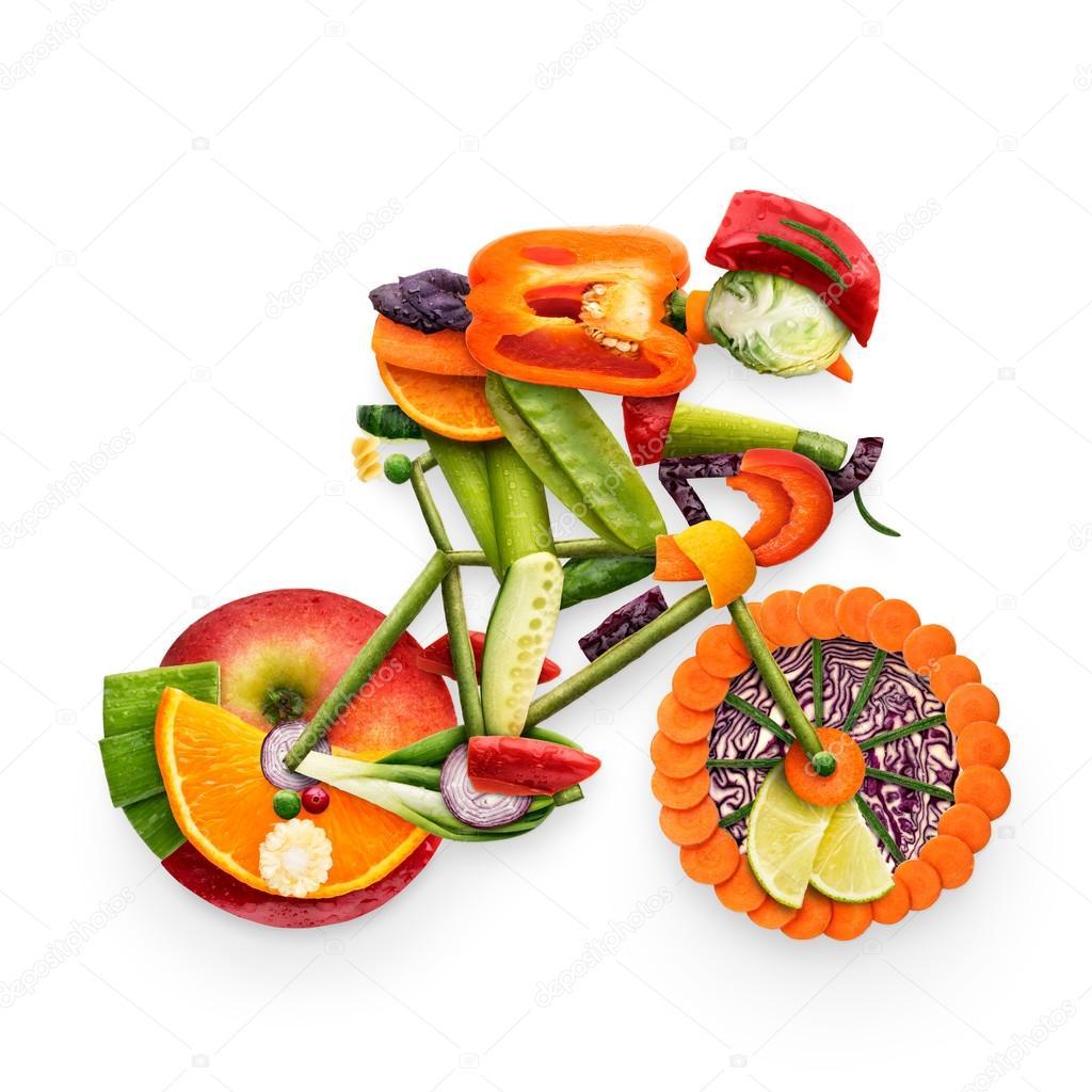 Motociclista Frutado Conceito Saudavel Do Alimento De Um