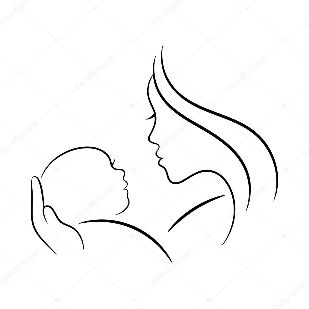 Mother And Baby Contour Illustration