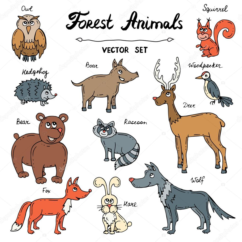 Vector Set With Hand Drawn Colored Doodles Of Forest