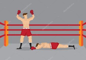 Ganador de boxeador en el Ring de boxeo — ilustración de stock